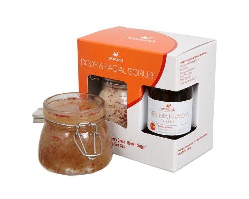 Anaplasis Body & Facial Scrub με Καστανή Ζάχαρη – Ελληνικό Αλάτι Μεσολογγίου & Σπόρους Cranberry 250gr