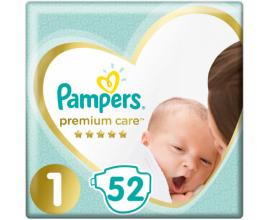 Pampers Premium Care Πάνες Μέγεθος 1, 2-5 kg, 52 Πάνες.