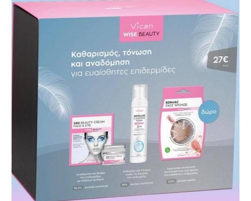 Vican Wise Beauty 24H Cream for face & eye 50ml Μαζί με Μicellar foam 3 in 1 200ml +Δώρο KONJAC Face sponge with pink clay powder