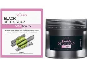 Vican Wise Beauty for Women Black Detox Soap Σαπούνι για Βαθύ Καθαρισμό της Επιδερμίδας,125ml