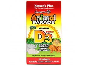 NATURE'S PLUS Animal Parade  Vitamin D3 500iu μασώμενο ζωάκι παρέχει βιταμίνης D3 90 μασώμενα ζωάκια