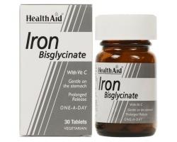 Health Aid IRΟΝ Bisglycinate with Vit C,Βοηθάει στην μεταφορά θρεπτικών συστατικών στον οργανισμό, προσδίδοντας δύναμη, ζωτικότητα και ενέργεια  30 ταμπλέτες
