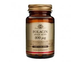 Solgar Folacin (Folic Acid) 800ug Φυλλικό οξύ,Βοηθάει στην αξιοποίηση των πρωτεϊνών, στον σχηματισμό του αίματος & στη μείωση της βλαπτικής ομοκυστεΐνης 100 ταμπλέτες