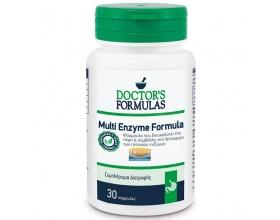 Doctor's Formulas Multi Enzyme Formula Συμπλήρωμα διατροφής που περιέχει μείγμα πεπτικών ενζύμων που διευκολύνουν την πέψη των πρωτεϊνών, 30caps