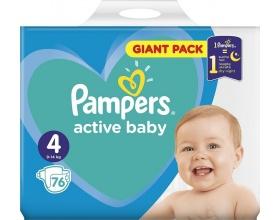 Pampers Πάνες Active Baby Μέγεθος 4 Giant Pack 9-14Kg, 76 Πάνες.