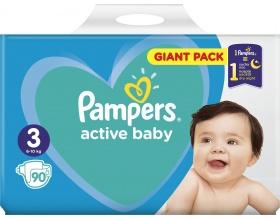 Pampers Πάνες Active Baby, Giant Pack Μέγεθος 3 6-10 Kg, 90 Πάνες.
