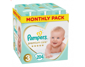 Pampers, Premium Care Monthly Box, No 3 6-10Kg, Βρεφικές Πάνες, 204τμχ.