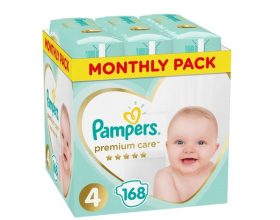 Pampers, Premium Care Monthly Box, No 4 8-14Kg, Βρεφικές Πάνες ,168τμχ.