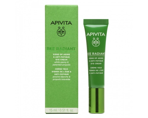 Apivita Bee Radiant Κρέμα Ματιών για σημάδια γήρανσης & ξεκούραστη όψη με λευκή παιώνια & πρόπολη 15 ml