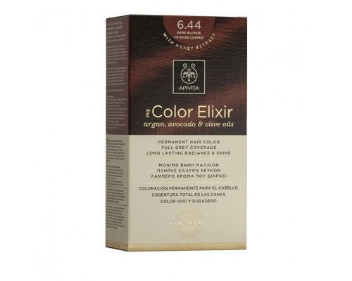 Apivita My Color Elixir Μόνιμη Βαφή Μαλλιών No 6.44 Ξανθό Σκούρο Έντονο χάλκινο 1 τεμάχιο