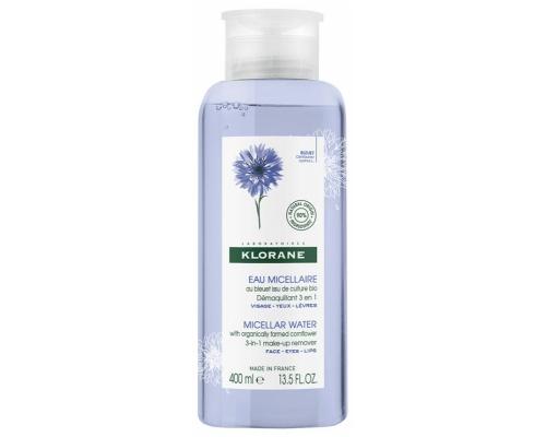 Klorane Eau Démaquillante Apaisante au Bleuet Νερό καθαρισμού Αφαιρεί απαλά το μακιγιάζ από τα χείλη έως τα μάτια, αφήνοντας το δέρμα καθαρό και φρέσκο 400ml