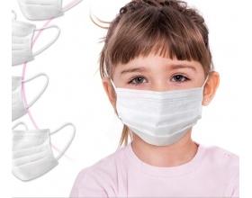 MASK 3PLY DISPOSABLE KIDS Μάσκα για παιδιά χρώμα άσπρο 10 τμχ