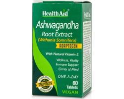 Health Aid Ashwagandha Root Extract Συμπλήρωμα διατροφής με εκχύλισμα ρίζας Ginseng ,με φυσική βιταμίνη Ε 60 ταμπλέτες