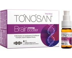 Uni-Pharma TONOSAN Brain Energy Booster Πόσιμο διάλυμα με βιταμίνες του συμπλέγματος B , 15 φιαλίδια μιας δόσης των 7 ml