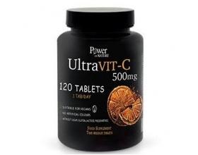 Power OF NATURE UltraVIT-C 500mg Συμπλήρωμα Διατροφής Βιταμίνης C για τόνωση & ενέργεια του οργανισμού, 120 ταμπλέτες