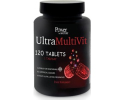 Power OF NATURE UltraMultiVit Συμπλήρωμα Διατροφής πολυβιταμίνη που περιέχει ένα σύνολο πολύτιμων θρεπτικών συστατικών για τις καθημερινές ανάγκες του οργανισμού 120 ταμπλέτες