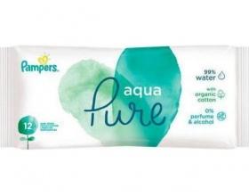Pampers Aqua Pure Μωρομάντηλα με 99% Νερό, 12τμχ
