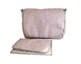 My Bag's, Τσάντα Καροτσιου με Γάτζους για να Κρεμιέται στο Καρότσι και Υπόστρωμα Αλλαγής Πάνας Χρώμα Ροζ, 1τμχ