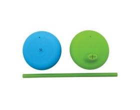BBox, Σετ Σιλικονούχων Καπακιών με Στόμιο και Καλαμάκι για όλα τα Ποτήρια με Πρακτική Θήκη Μεταφοράς Χρώμα Μπλέ-Πράσινο, 2 τμχ