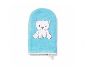 Babyono, Γαντάκι Πλυσίματος Μωρού απο Μπαμπού Χρώμα Μπλέ, 1τμχ