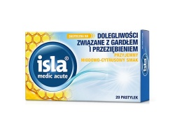isla medic acute Καραμέλες για ενοχλήσεις του λαιμού από κρυολόγημα με ευχάριστη γεύση citrus-honey 20 παστίλιες