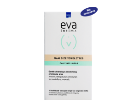 Intermed Eva Intima Fresh & Clean Towelettes 12 τεμάχια μεγάλου μεγέθους, Μαλακά Πανάκια για το Στιγμιαίο Καθαρισμό & Περιποίηση της Ευαίσθητης Περιοχής