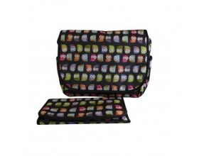 My Bag's, Τσάντα Καροτσιού με Γάτζους για να Κρεμιέται στο Καρότσι και Υπόστρωμα Αλλαγής Πάνας Χρώμα Μάυρο με Κουκουβάγιες, 1τμχ