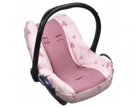 Dooky Κάλυμμα για Κάθισμα Αυτοκινήτου (Αυγό) Χρώμα Ροζ με Καρδιές, 1τμχ