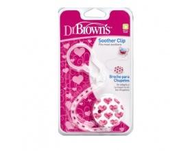 Dr Brown's Soother Clip Κλιπ Πιπίλας με Αλυσίδα Χρώμα Ρόζ, 1τμχ