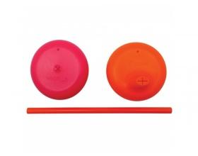BBox, Σετ Σιλικονούχων Καπακιών με Στόμιο και Καλαμάκι για όλα τα Ποτήρια με Πρακτική Θήκη Μεταφοράς Χρώμα Ροζ - Πορτοκαλί 2 τμχ