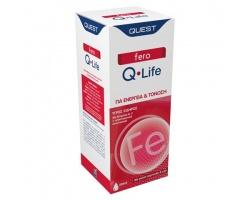 QUEST fero Q-Life Συμπλήρωμα διατροφής υγρός σίδηρος με βιταμίνες  Β, C , για ενέργεια & τόνωση με γεύση πορτοκάλι - μέλι 200ml