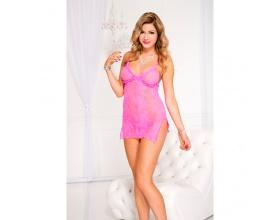 Music Legs lingerie, Δαντελωτό Φόρεμα σε χρώμα ροζ και μέγεθος ONE SIZE, 1 τμχ