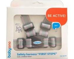Babyono, Ιμάντας Ασφαλείας για τα Πρώτα Βηματάκια του Μωρού σας Χρώμα Γκρι-Ροζ, 1τμχ