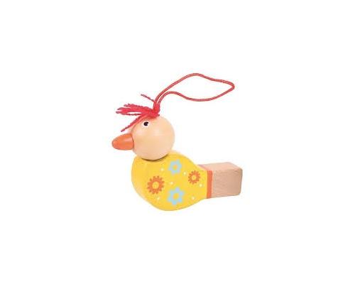 Big Jigs Toys Ξύλινη Σφυρίχτρα Πουλάκι Kίτρινο,1τμχ