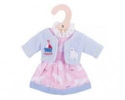 Big Jigs Toys Ρόζ Φόρεμα με Αρκουδίτσες και Γαλάζιο Ζακετάκι για Κούκλες, Small,1τμχ