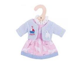Big Jigs Toys Ρόζ Φόρεμα με Αρκουδίτσες και Γαλάζιο Ζακετάκι για Κούκλες, Medium,1τμχ