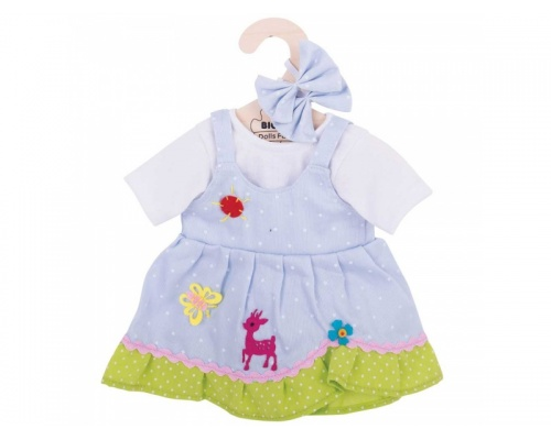 Big Jigs Toys Γαλάζιο Πουά Φόρεμα με Ελάφι για Κούκλες, Medium,1τμχ