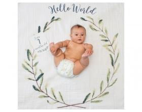 "Lulujo Θεματική Μουσελίνα για να Αποθανατήσετε τα Στάδια Ανάπτυξης του Μωρού σας με θέμα ""Hello World"", 1τμχ"