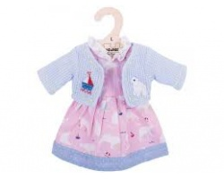 Big Jigs Toys Ρόζ Φόρεμα με Αρκουδίτσες και Γαλάζιο Ζακετάκι για Κούκλες, Large,,1τμχ