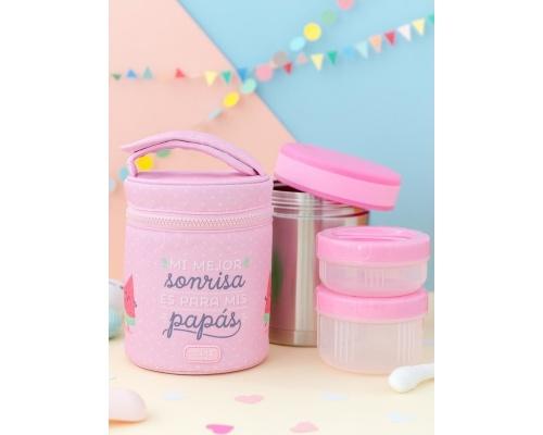 Laken Θερμός Φαγητού 1Lt με θήκη Εσωθερμική  Χρώμα Ροζ Mr.Wonderful-Fresa 1τμχ