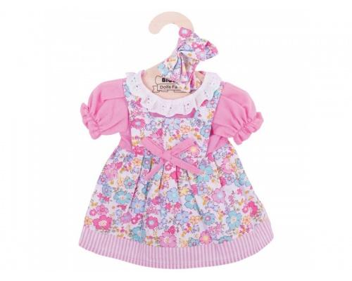 Big Jigs Toys Ρόζ Φόρεμα με Λουλουδάκια και Ασορτί Λαστιχάκια για τα Μαλλιά, Large 1τμχ