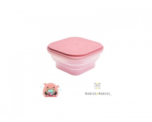 Marcus & Marcus, Πτυσσόμενο Φαγητοδοχείο Σιλικόνης με Καπάκι Χρώμα Ροζ, 1τμχ