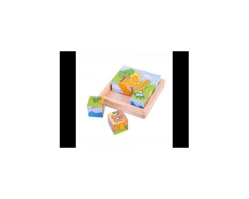 Big Jigs Toys Ξύλινο Παζλ με κύβους Δεινόσαυροι, 1 τμχ