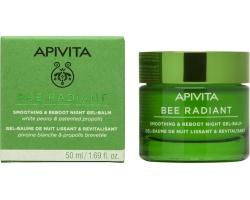Apivita Bee Radiant Gel-Balm Κρέμα Νύχτας προσώπου για λείανση και αναζωογόνηση με λευκή παιώνια και πατενταρισμένη πρόπολη, 50 ml