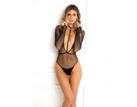 Body Plunge Body, Ολόσωμο κορμάκι με διάφανεια σε χρώμα μαύρο και μέγεθος S/M, 1 τμχ