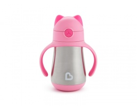 Munchkin Cool Cat Stainless Straw Cup Παγουράκι Θερμός με Καλαμάκι και Καπάκι  Χρώμα Ρόζ, 237ml
