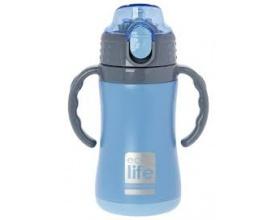 Ecolife Ανοξείδωτο Παγουράκι Θερμός με Λαβές και Εσωτερικό Καλαμάκι Χρώμα Mπλε, 300ml