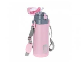 Ecolife Παγουράκι Θερμός Inox με διπλό Τοίχωμα με Καλαμάκι, Χρώμα Ρόζ, 400ml
