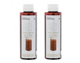 Korres Σαμπουάν με Πρωτεϊνες Ρυζιού & Τίλιο για λεπτά αδύναμα μαλλιά 1+1 Δώρο 250mlx2