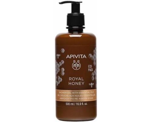 Apivita Royal Honey, κρεμώδες αφρόλουτρο με αιθέρια έλαια με πλούσια σύνθεση ιδανικό και για ξηρές επιδερμίδες, εμπνευσμένο από τις μοναδικές ιδιότητες του θυμαρίσιου μελιού 500ml